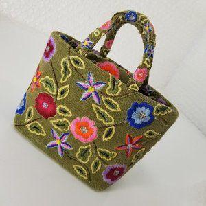 VTG 70s Pierre Urbach floral embroidered carpe bag